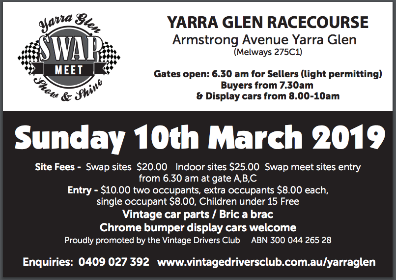 Yarra Glen Swap Meet and Show & Shine 2019 @ Yarra Glen Racecourse | Yarra Glen | Victoria | Australia