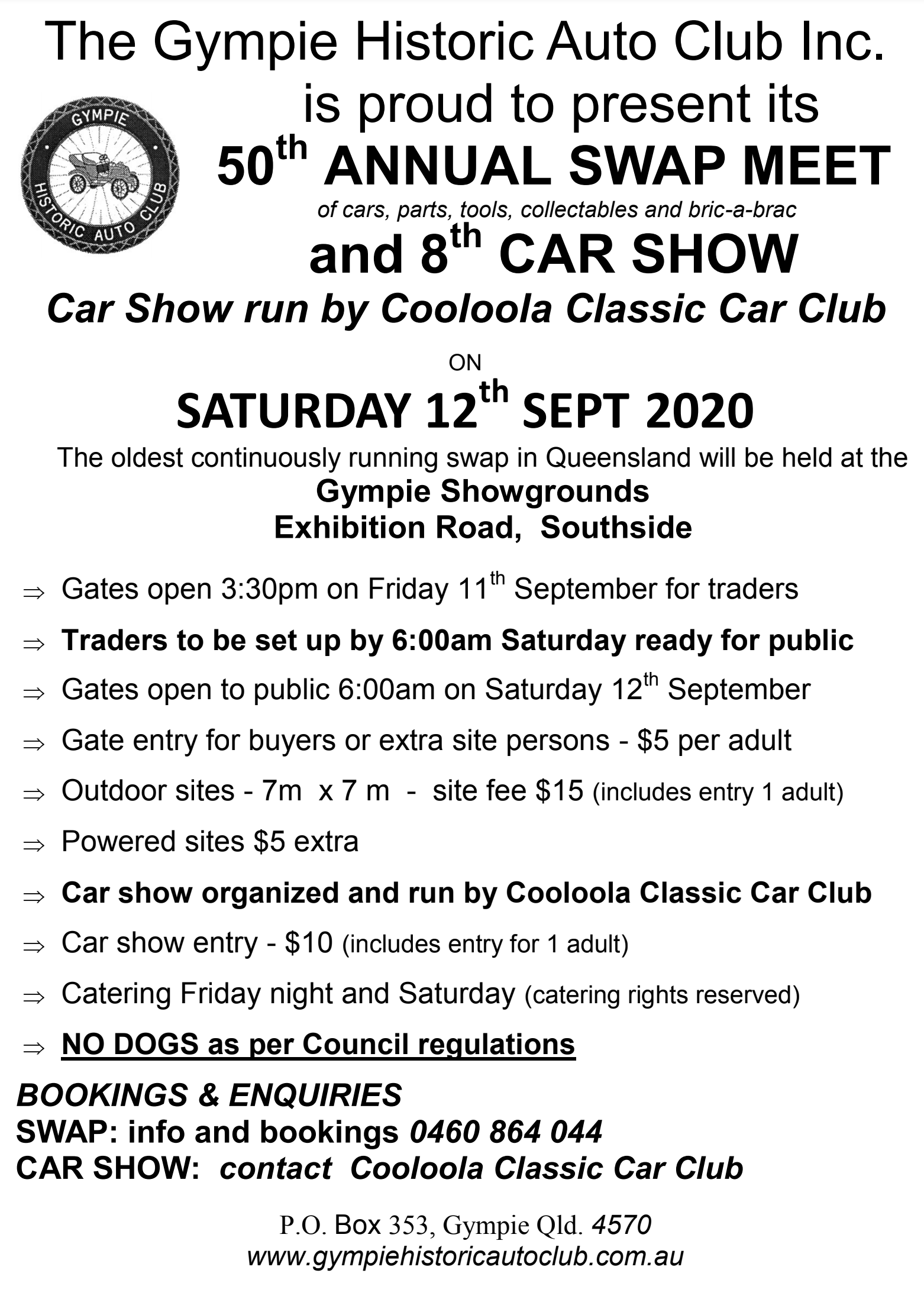 Gympie Historic Autoclub Swapmeet 2020 @ Gympie Showgrounds | Southside | Queensland | Australia