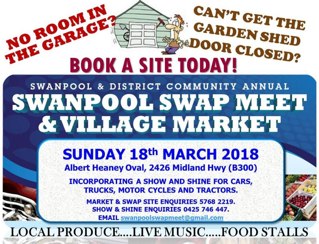 SWANPOOL SWAP MEET and VILLAGE MARKET 2018 @ Albert Heaney Oval | Swanpool | Victoria | Australia