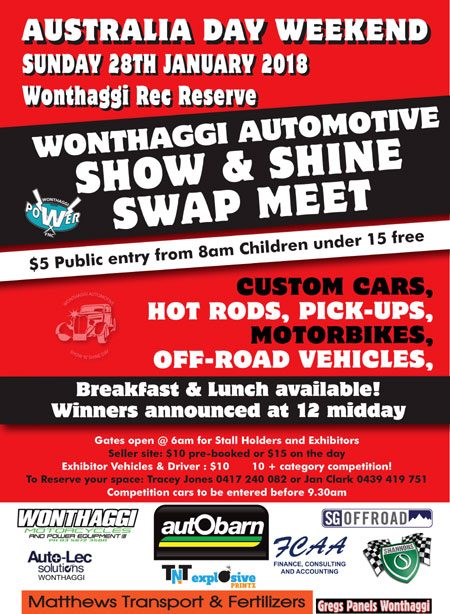WONTHAGGI AUTOMOTIVE SWAPMEET  2018 @ Wonthaggi Rec Reserve Wentworth Road, North Wonthaggi.