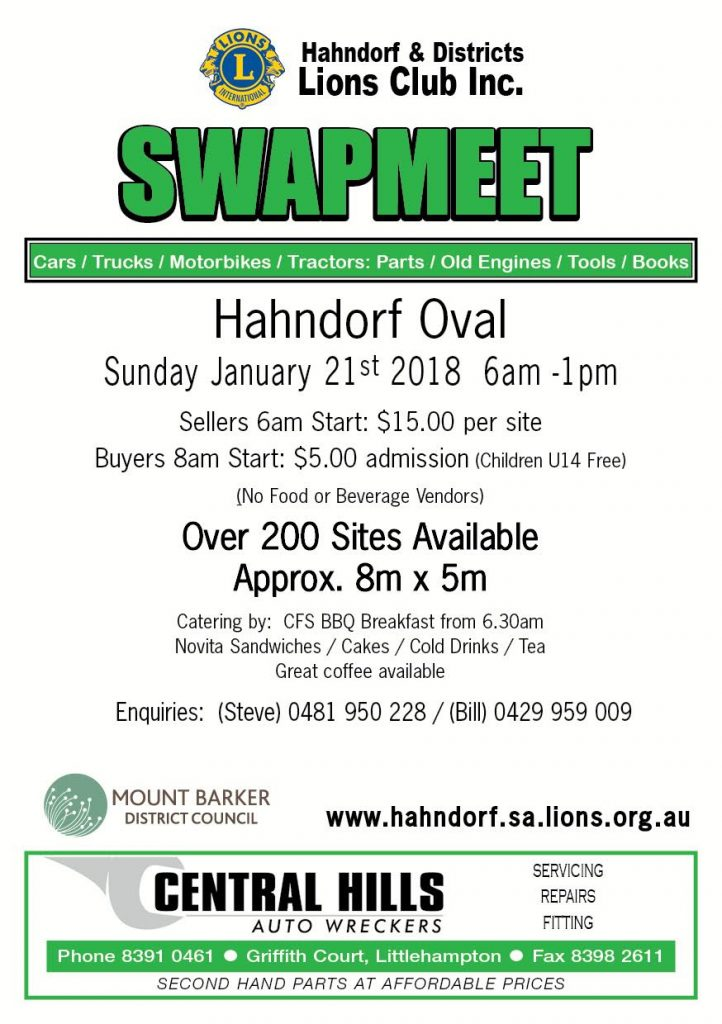 Hahndorf Lions Club Swapmeet 2018 @ Hahndorf Oval | Hahndorf | South Australia | Australia