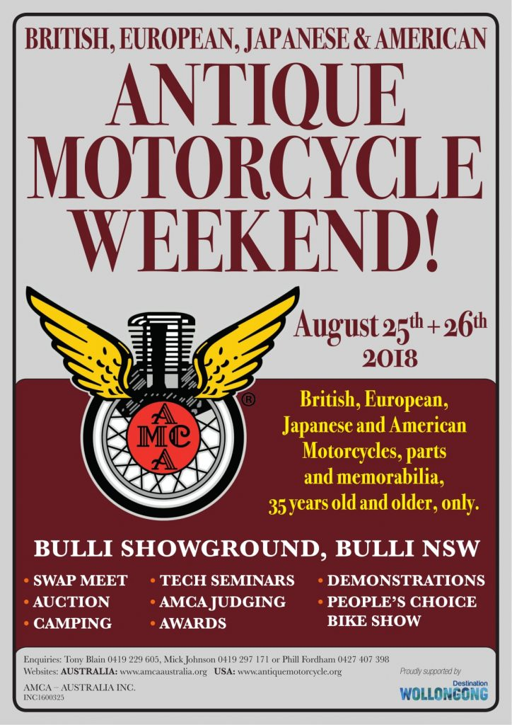 AMCA Australia Antique Motorcycle Weekend 2018 @ BULLI SHOWGROUND, BULLI NSW | Bulli | New South Wales | Australia