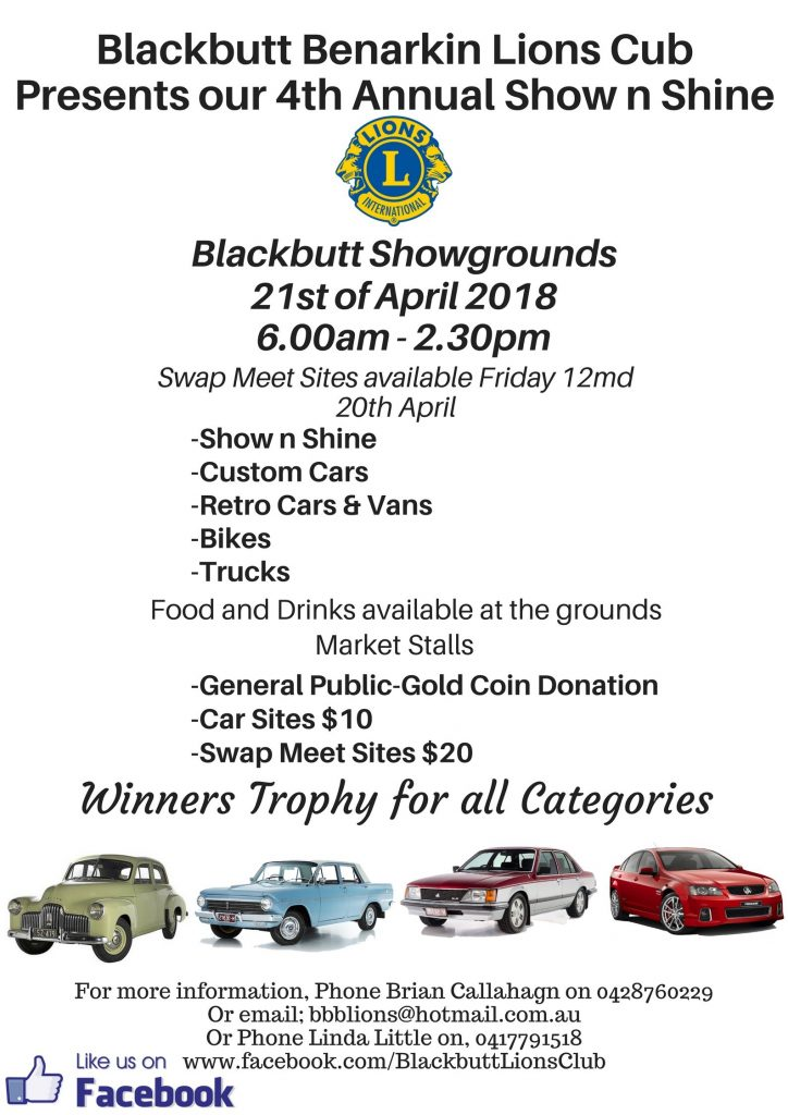 Blackbutt Benarkin Lions Club Show and Shine 2018 @ Blackbutt Showgrounds | Blackbutt North | Queensland | Australia