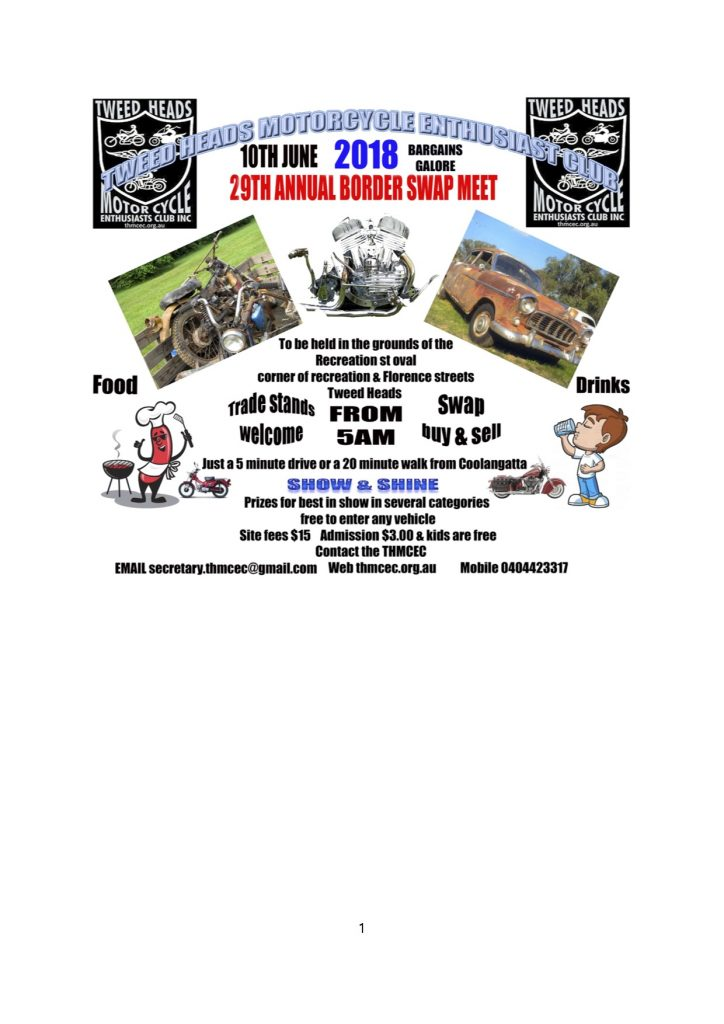 19th Annual Border Swapmeet 2018 @ Recreation St, Tweed Heads NSW 2485 | Tweed Heads | New South Wales | Australia