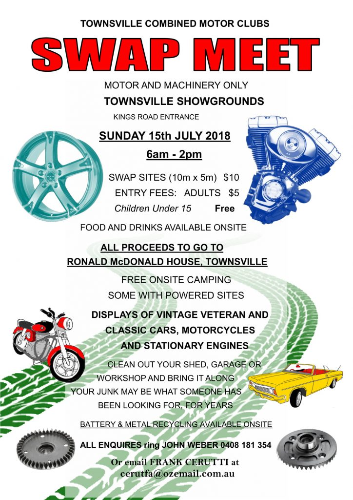 TOWNSVILLE COMBINED MOTOR CLUBS SWAPMEET 2018 @ TOWNSVILLE SHOWGROUNDS KINGS ROAD ENTRANCE | West End | Queensland | Australia