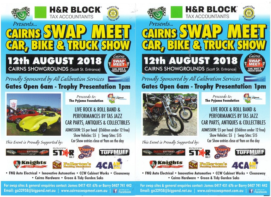 Cairns Swap Meet Car Bike & Truck Show 12th  August  2018 @ Cairns Showgrounds | Parramatta Park | Queensland | Australia