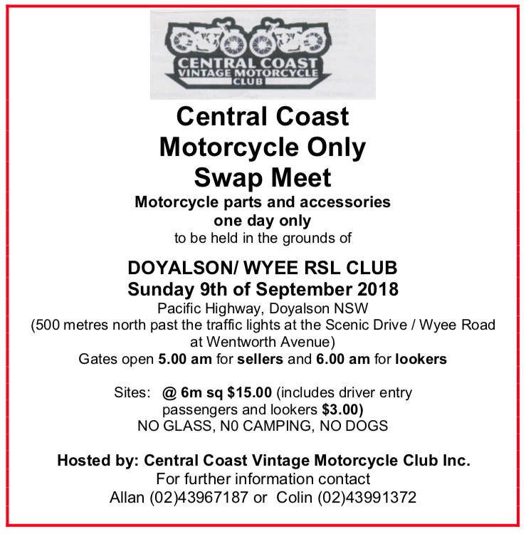 Central Coast Motorcycle Only Swap Meet 2018 @ Pacific Highway, Doyalson NSW Scenic Drive / Wyee Road at Wentworth Avenue | Wyee | New South Wales | Australia