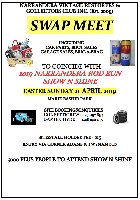 NARRANDERA VINTAGE RESTORERS & COLLECTORS CLUB INC - SWAP MEET 2019 @ Narrandera Marie Bashir Park, Cadell Street NARRANDERA NSW 2700 | Narrandera | New South Wales | Australia