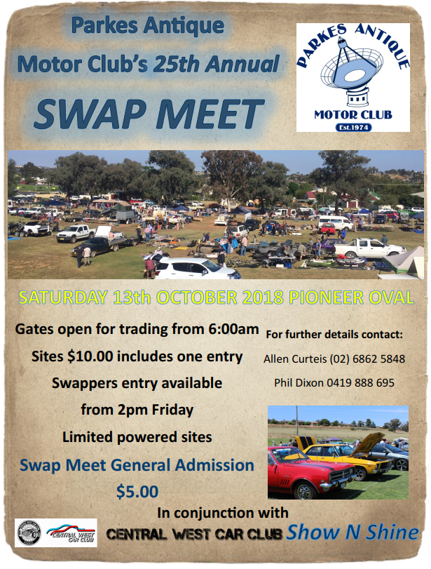 Parkes Antique Motor Clubs 25th Annual Swapmeet - 2018 @ Pioneer Oval | Parkes | New South Wales | Australia