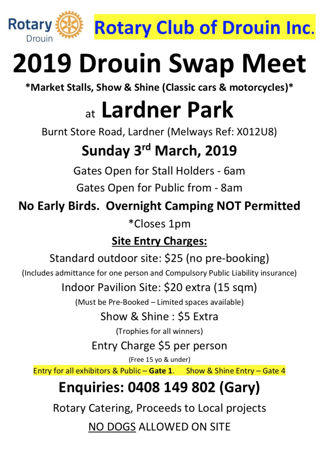 2019 Drouin Swap Meet @ Lardner Park  Burnt Store Road, Lardner | Lardner | Victoria | Australia