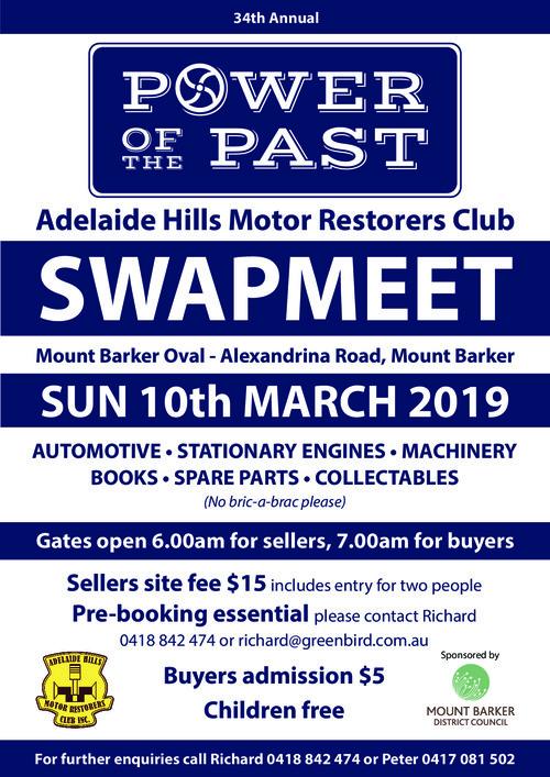 Adelaide Hills Motor Restorers Club Swapmeet 2019 @ Mount Barker Oval - Alexandrina Road, Mount Barker | Mount Barker | South Australia | Australia