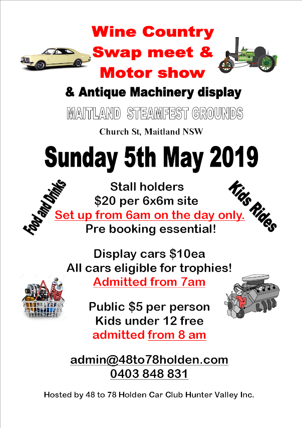 2019 Wine Country Swapmeet and Motor Show @ Maitland Steamfest Grounds | Maitland | New South Wales | Australia
