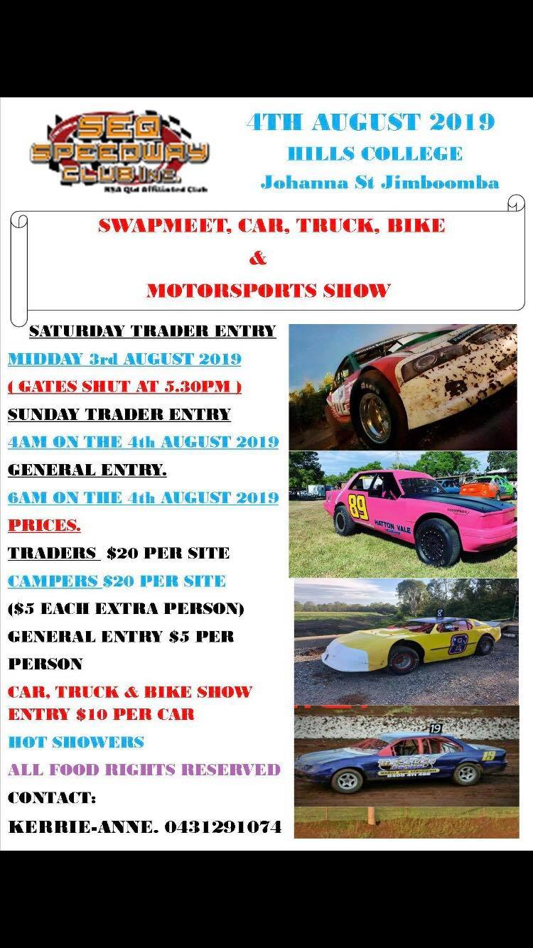 2019 SEQ Speedway Club Swapmeet and MotorSports Show @ HILLS COLLEGE JIMBOOMBA CNR OF MT LINDSAY HWY AND JOHANNA ST | Jimboomba | Queensland | Australia