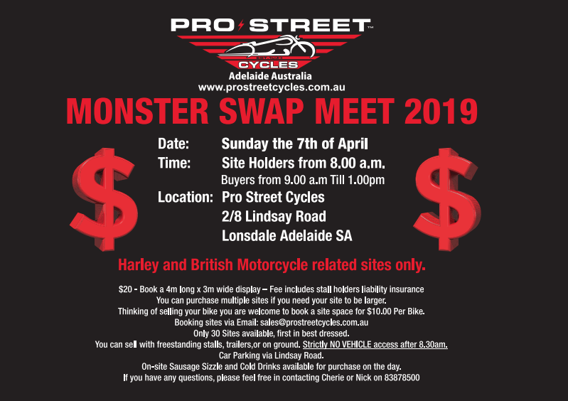 Pro Street Monster Swapmeet Adelaide 2019 @ Pro Street Cycles | Lonsdale | South Australia | Australia