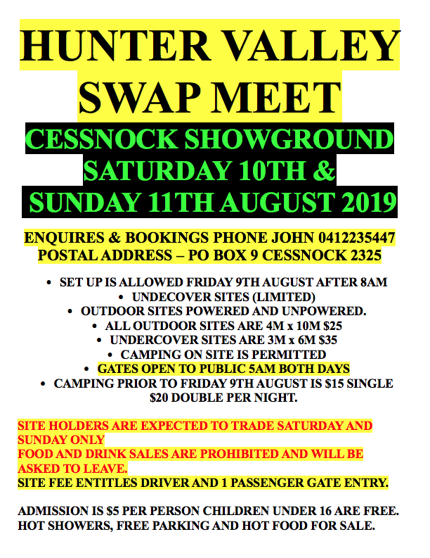 2019 Hunter Valley Swap Meet @ Cessnock Showground | Cessnock | New South Wales | Australia