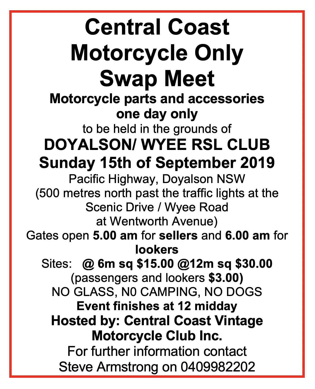 Central Coast Motorcycle Only Swap Meet 2019 @ Pacific Highway, Doyalson NSW Scenic Drive / Wyee Road at Wentworth Avenue | Wyee | New South Wales | Australia