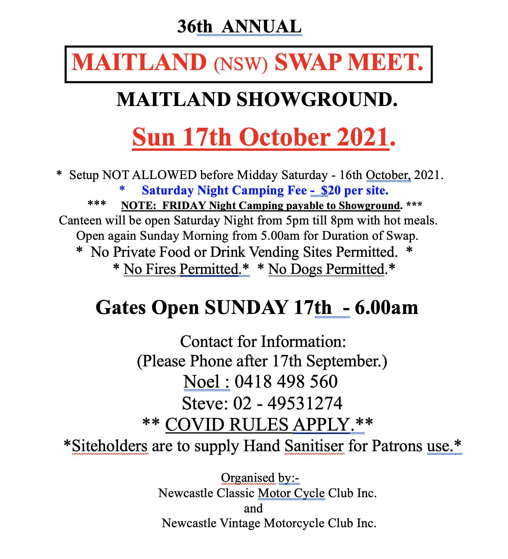 Maitland Swapmeet 2021 @ Maitland Showground | South Maitland | New South Wales | Australia