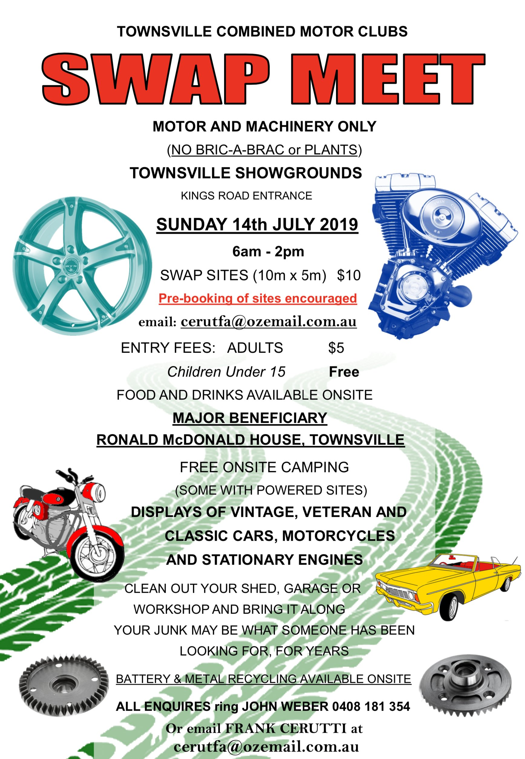 TOWNSVILLE COMBINED MOTOR CLUBS SWAPMEET 2019 @ TOWNSVILLE SHOWGROUNDS KINGS ROAD ENTRANCE | West End | Queensland | Australia
