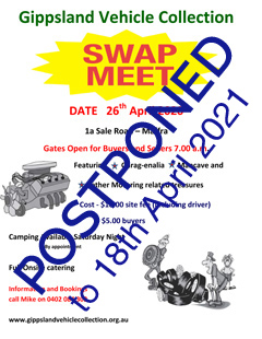 Gippsland Vehicle Collection Swap Meet 2021 @ Maffra | Victoria | Australia