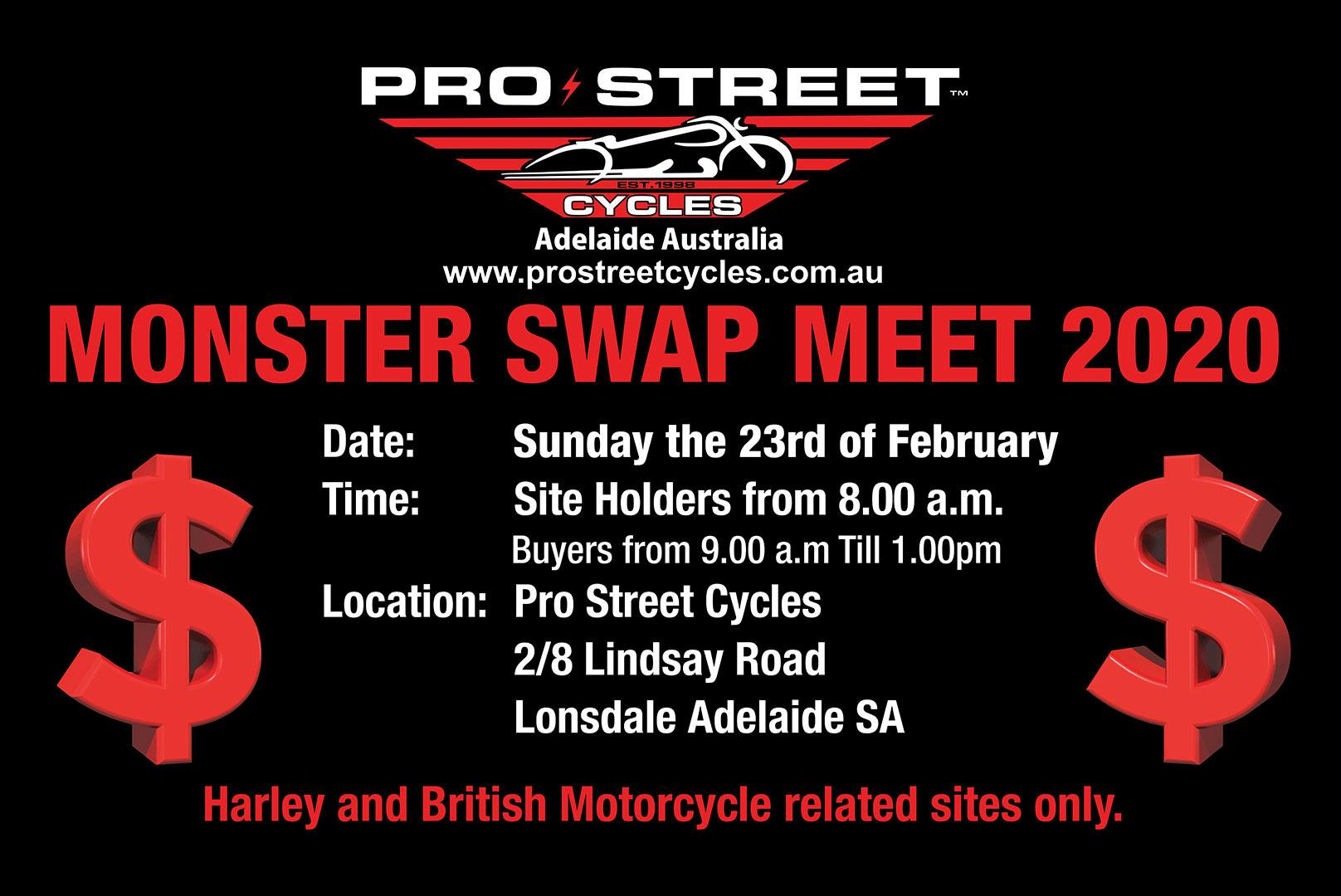 Pro Street Motorcycle Swap meet 2020 @ Pro Street Cycles 2/8 Lindsay Road, Lonsdale | Lonsdale | South Australia | Australia