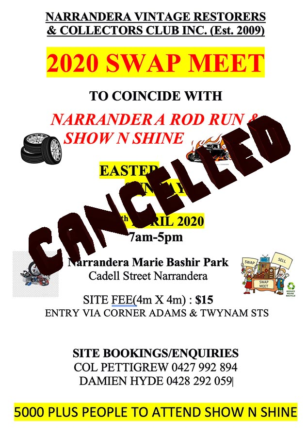 CANCELLED - NARRANDERA VINTAGE RESTORERS & COLLECTORS CLUB INC - SWAP MEET 2020 @ Narrandera Marie Bashir Park, Cadell Street NARRANDERA NSW 2700 | Narrandera | New South Wales | Australia