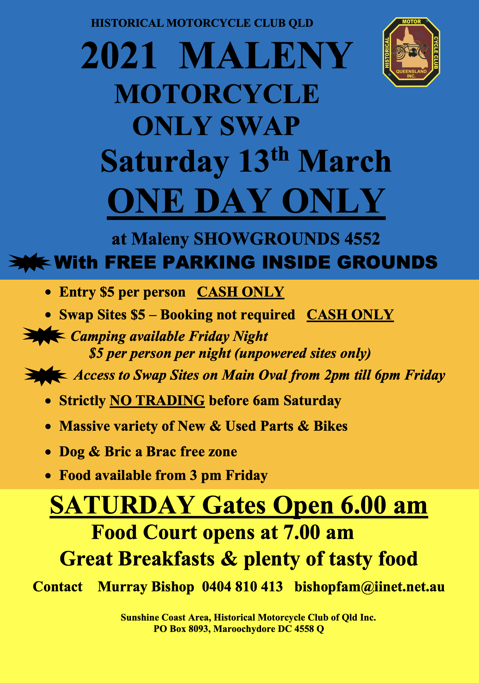 CANCELLED - 2021 MALENY MOTORCYCLE SWAPMEET @ Maleny SHOWGROUNDS | Maleny | Queensland | Australia