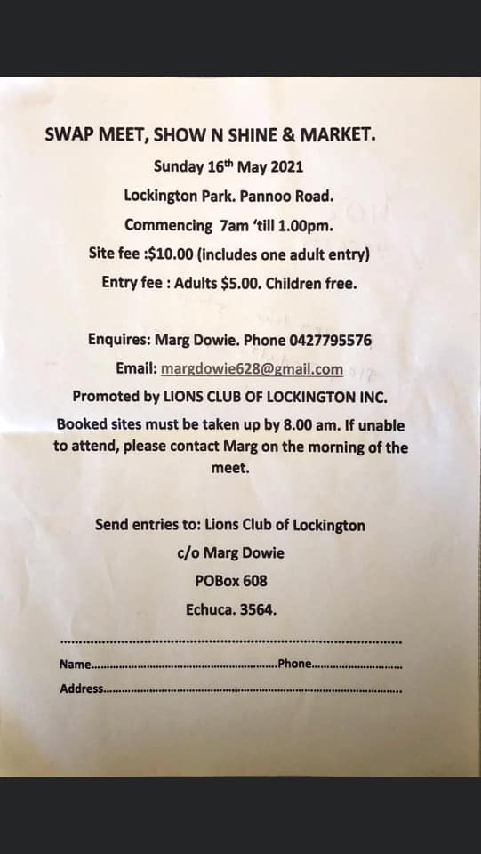 Lockington Lions Club Swap Meet 2021 @ Lockington Park, Pannoo Rd Lockington VIC 3563 | Lockington | Victoria | Australia