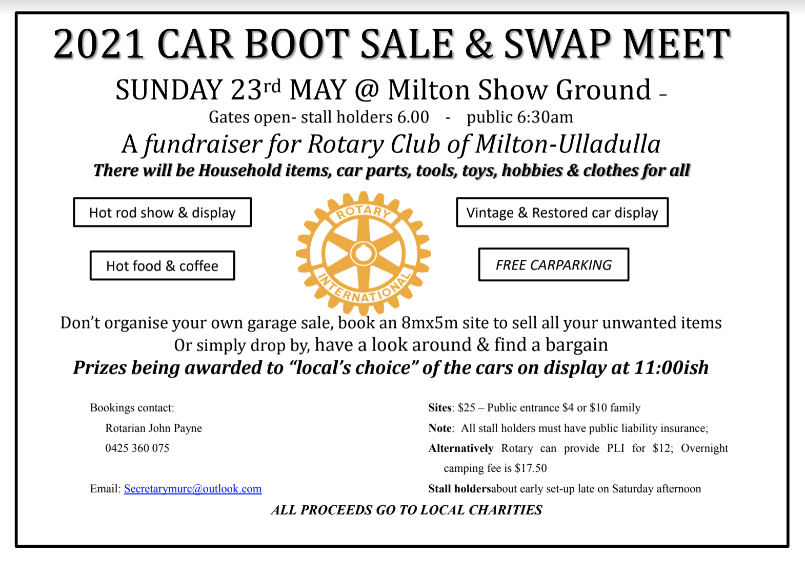 Rotary Club of Milton Ulladulla Swapmeet 2021 @ Milton Show Ground | Milton | New South Wales | Australia