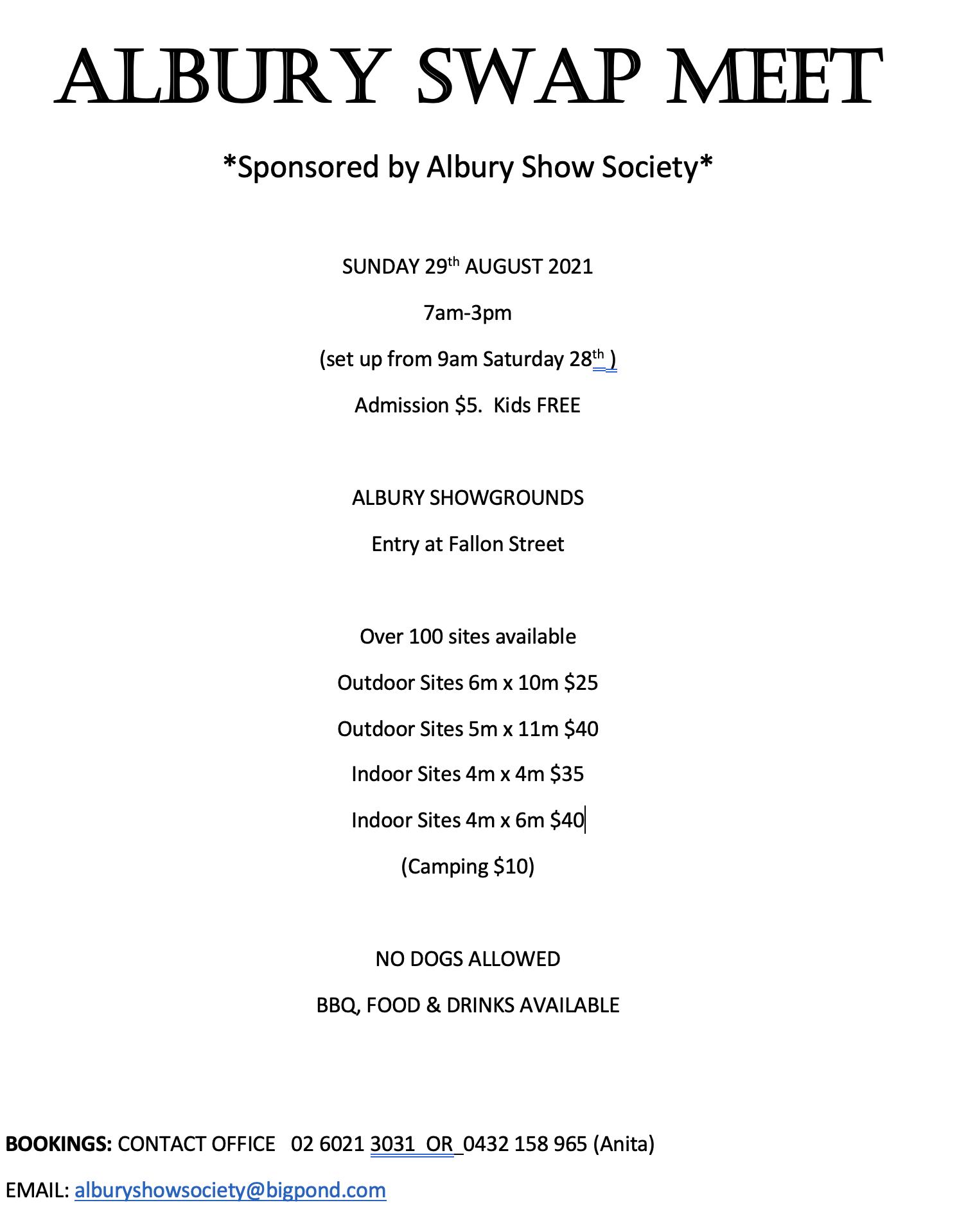 Albury Swap Meet 2021 @ Swap Meet Albury Show Grounds | North Albury | New South Wales | Australia