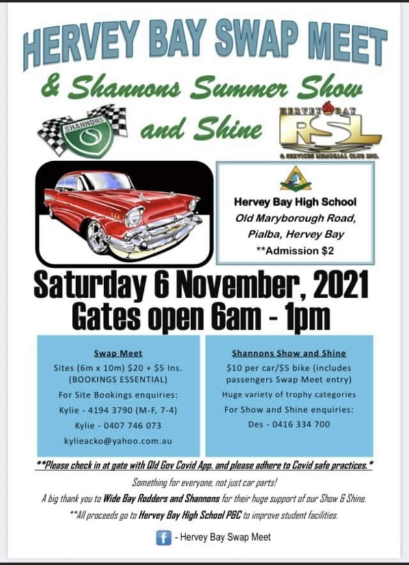 Hervey Bay Swap Meet and Shannons Show and Shine 2021 @ Hervey Bay State High School | Hervey Bay | Queensland | Australia